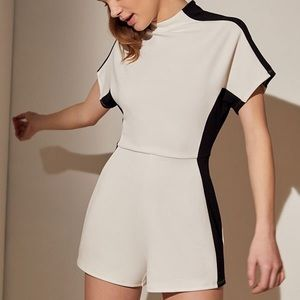 UO Modern Illusion Colorblock Mock Neck Romper